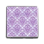 DAMASK1 WHITE MARBLE & PURPLE DENIM (R) Memory Card Reader (Square) Front