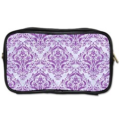 Damask1 White Marble & Purple Denim (r) Toiletries Bags by trendistuff