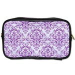 DAMASK1 WHITE MARBLE & PURPLE DENIM (R) Toiletries Bags 2-Side Front
