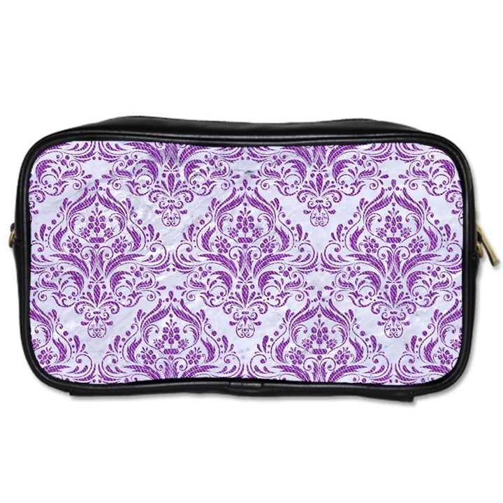 DAMASK1 WHITE MARBLE & PURPLE DENIM (R) Toiletries Bags 2-Side
