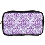 DAMASK1 WHITE MARBLE & PURPLE DENIM (R) Toiletries Bags 2-Side Back