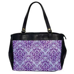Damask1 White Marble & Purple Denim (r) Office Handbags