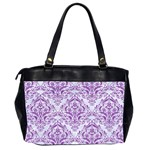 DAMASK1 WHITE MARBLE & PURPLE DENIM (R) Office Handbags (2 Sides)  Back