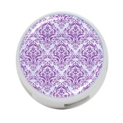 Damask1 White Marble & Purple Denim (r) 4 Port Usb Hub (two Sides)