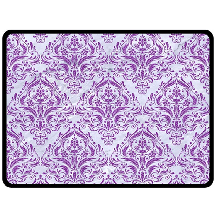 DAMASK1 WHITE MARBLE & PURPLE DENIM (R) Fleece Blanket (Large)