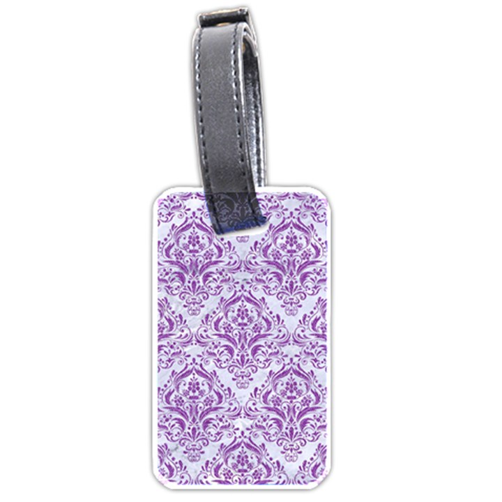DAMASK1 WHITE MARBLE & PURPLE DENIM (R) Luggage Tags (Two Sides)