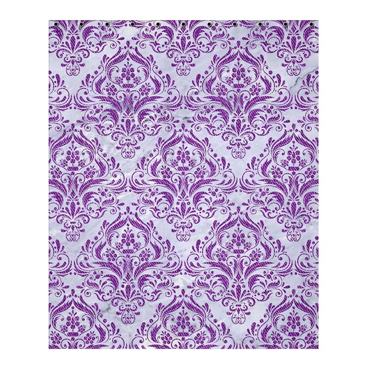 DAMASK1 WHITE MARBLE & PURPLE DENIM (R) Shower Curtain 60  x 72  (Medium)