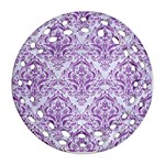 DAMASK1 WHITE MARBLE & PURPLE DENIM (R) Ornament (Round Filigree) Front
