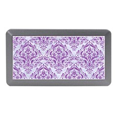 Damask1 White Marble & Purple Denim (r) Memory Card Reader (mini)
