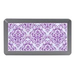 DAMASK1 WHITE MARBLE & PURPLE DENIM (R) Memory Card Reader (Mini) Front