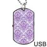 DAMASK1 WHITE MARBLE & PURPLE DENIM (R) Dog Tag USB Flash (One Side) Front