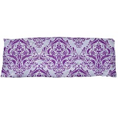 Damask1 White Marble & Purple Denim (r) Body Pillow Case (dakimakura)