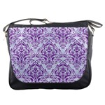 DAMASK1 WHITE MARBLE & PURPLE DENIM (R) Messenger Bags Front