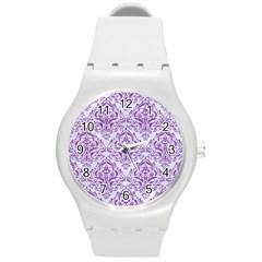 Damask1 White Marble & Purple Denim (r) Round Plastic Sport Watch (m)