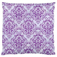 Damask1 White Marble & Purple Denim (r) Large Cushion Case (two Sides)