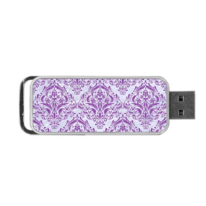 DAMASK1 WHITE MARBLE & PURPLE DENIM (R) Portable USB Flash (One Side)