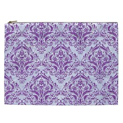 Damask1 White Marble & Purple Denim (r) Cosmetic Bag (xxl)