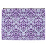 DAMASK1 WHITE MARBLE & PURPLE DENIM (R) Cosmetic Bag (XXL)  Front