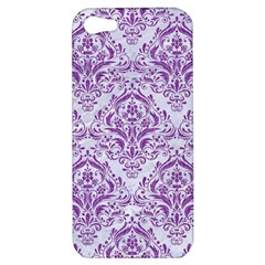 Damask1 White Marble & Purple Denim (r) Apple Iphone 5 Hardshell Case