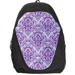 DAMASK1 WHITE MARBLE & PURPLE DENIM (R) Backpack Bag Front