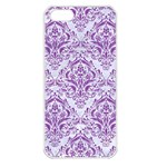 DAMASK1 WHITE MARBLE & PURPLE DENIM (R) Apple iPhone 5 Seamless Case (White) Front