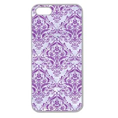 Damask1 White Marble & Purple Denim (r) Apple Seamless Iphone 5 Case (clear)