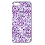 DAMASK1 WHITE MARBLE & PURPLE DENIM (R) Apple Seamless iPhone 5 Case (Clear) Front