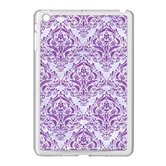 Damask1 White Marble & Purple Denim (r) Apple Ipad Mini Case (white)