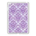 DAMASK1 WHITE MARBLE & PURPLE DENIM (R) Apple iPad Mini Case (White) Front