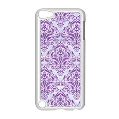 Damask1 White Marble & Purple Denim (r) Apple Ipod Touch 5 Case (white)