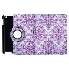 DAMASK1 WHITE MARBLE & PURPLE DENIM (R) Apple iPad 3/4 Flip 360 Case