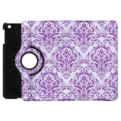 Damask1 White Marble & Purple Denim (r) Apple Ipad Mini Flip 360 Case by trendistuff