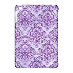 Damask1 White Marble & Purple Denim (r) Apple Ipad Mini Hardshell Case (compatible With Smart Cover)