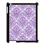 DAMASK1 WHITE MARBLE & PURPLE DENIM (R) Apple iPad 3/4 Case (Black) Front
