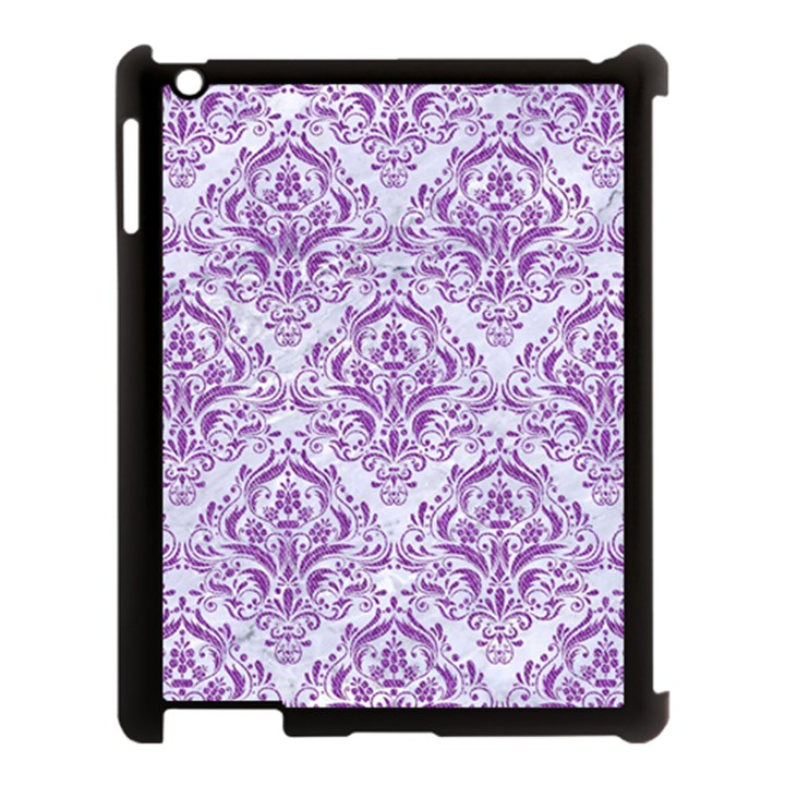 DAMASK1 WHITE MARBLE & PURPLE DENIM (R) Apple iPad 3/4 Case (Black)