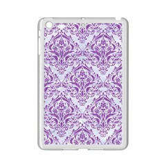 Damask1 White Marble & Purple Denim (r) Ipad Mini 2 Enamel Coated Cases