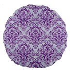 DAMASK1 WHITE MARBLE & PURPLE DENIM (R) Large 18  Premium Round Cushions Front