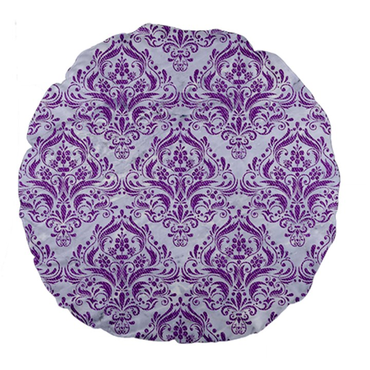 DAMASK1 WHITE MARBLE & PURPLE DENIM (R) Large 18  Premium Round Cushions