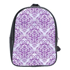 Damask1 White Marble & Purple Denim (r) School Bag (xl)