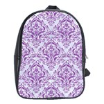 DAMASK1 WHITE MARBLE & PURPLE DENIM (R) School Bag (XL) Front