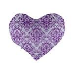 DAMASK1 WHITE MARBLE & PURPLE DENIM (R) Standard 16  Premium Heart Shape Cushions Back