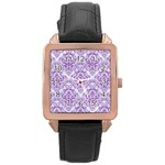 DAMASK1 WHITE MARBLE & PURPLE DENIM (R) Rose Gold Leather Watch  Front