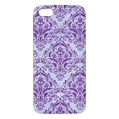 Damask1 White Marble & Purple Denim (r) Apple Iphone 5 Premium Hardshell Case by trendistuff