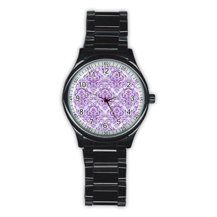 DAMASK1 WHITE MARBLE & PURPLE DENIM (R) Stainless Steel Round Watch