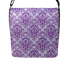 Damask1 White Marble & Purple Denim (r) Flap Messenger Bag (l)