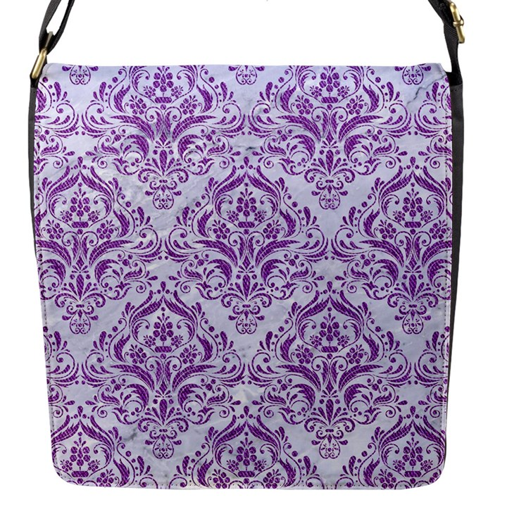 DAMASK1 WHITE MARBLE & PURPLE DENIM (R) Flap Messenger Bag (S)