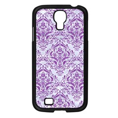 Damask1 White Marble & Purple Denim (r) Samsung Galaxy S4 I9500/ I9505 Case (black)