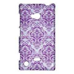 Damask1 White Marble & Purple Denim (r) Nokia Lumia 720
