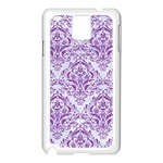 DAMASK1 WHITE MARBLE & PURPLE DENIM (R) Samsung Galaxy Note 3 N9005 Case (White) Front