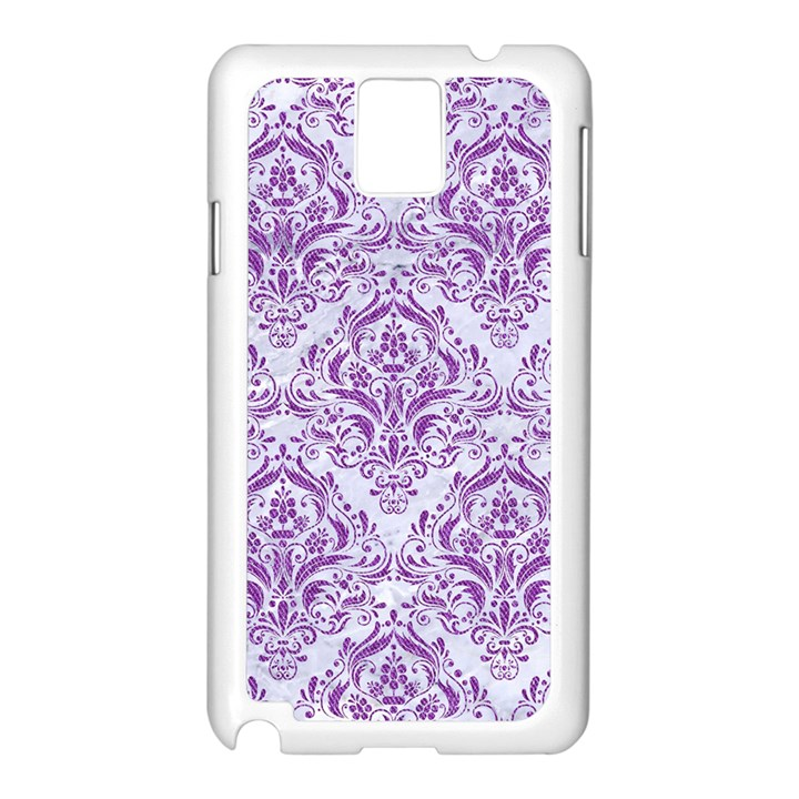 DAMASK1 WHITE MARBLE & PURPLE DENIM (R) Samsung Galaxy Note 3 N9005 Case (White)